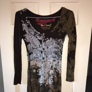Desigual brown long-sleeve dress, ribbon belt